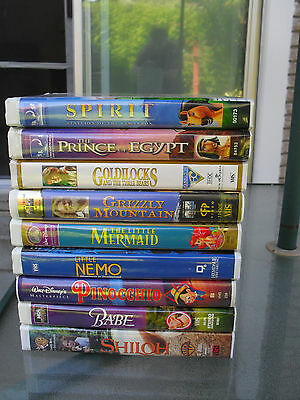 DISNEY Collection of Children's 9 VHS Movie Clamshell Video Tapes
