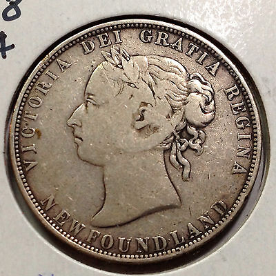 Newfoundland 1898 Sterling Silver 50 Cents Nice Grade Low Mintage
