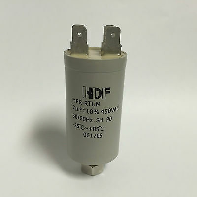 7uF 450VAC 50Hz Motor Run Capacitor suits Fisher & Paykel Appliance Motors, 7mfd