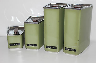 Vintage 60's KITCHEN STORAGE CANISTERS Avocado Green ** Stackable CANADA L@@K