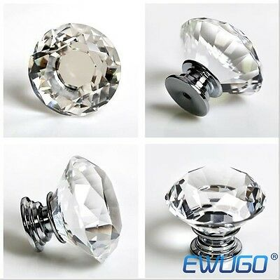 16pcs Clear Crystal Diamond Glass Door Knobs Drawer Cabinet Furniture Kitchen