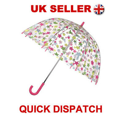 Kids Shooting Star Umbrella Full Clear Bubble Dome Birdcage Brolly