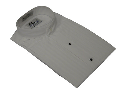 Men's Tuxedo Pastor shirt CLASSIX Banded Collarless Formal Pleated M06 White NEW