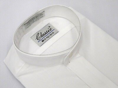 Men Formal pastor shirt CLASSIX Banded Collar less Hidden Button Front M08 White