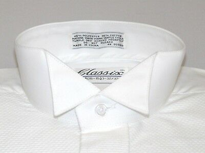 Men Formal Tuxedo shirt CLASSIX Wing tip Collar Stud Button Front M07 White NEW