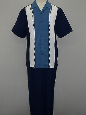 Men's INSERCH 2pc Set Walking Leisure Slacks Suit Short Sleeves 809561 Navy Blue