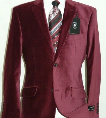 Men's Cotton Velvet Jacket Two Button Side Vents By Giorgio Cosani 491 Burgundy