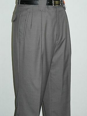 Men's Wide Leg Gray Pants by Veronesi Pleated front Super 150s Wool High Quality