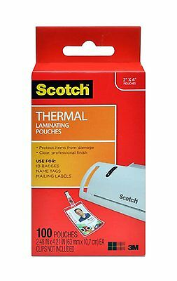 Scotch Thermal Laminating Pouches, 2.4 x 4.2-Inches, ID Badge(TP5852-100)NEW