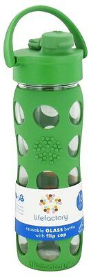 Lifefactory - Glass Beverage Bottle With Silicone Sleeve and Flip Top Cap Grass