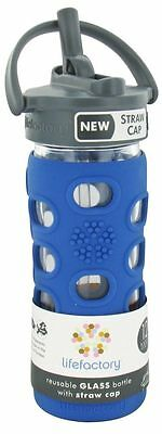 Lifefactory - Glass Beverage Bottle With Silicone Sleeve and Straw Cap Cobalt -
