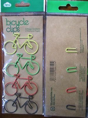 4 Bicycle Clip Metal Page Bookmarks Markers Worldwide Co. UK LOT# 6072 Gift NEW