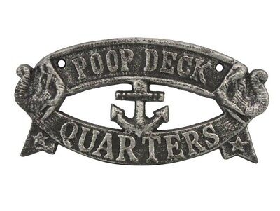 Handcrafted Nautical Decor Cast Iron Poop Deck Quarters Sign Wall Décor