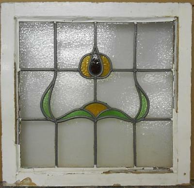 """MID SIZED OLD ENGLISH LEADED STAINED GLASS WINDOW Beautiful Floral 25"""" x 24"""""""