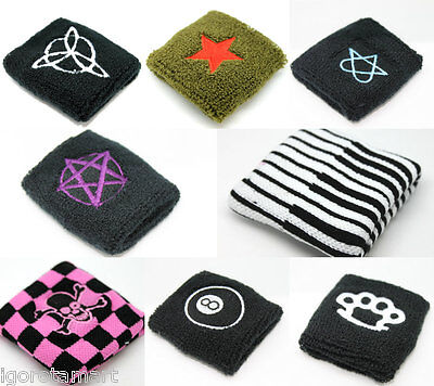 2x Patterned Stretch Cotton Wrist Sweat Bands Terry Cloth Sweatbands Accessory