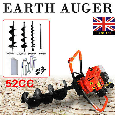 52cc 2HP Petrol Powered Earth Auger Post Hole Borer Ground Drill with 3 Bits