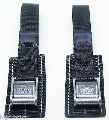 2-pack: 1.0m x 25mm Black PADDED Cam Buckle Endless Lashing 400kg; Cargo Straps