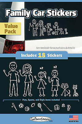 Family Car Sticker-Compact Kit Black & White Set