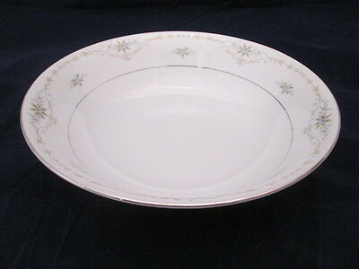 """Avalon by M Japan Fine China 9-1/4"""" Round Bowl Blue Flowers wGreen Leaves Silver"""