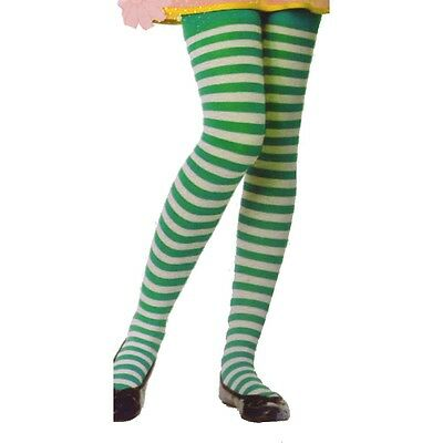 Leg Avenue 4710 Girls Striped Tights Kelly Green & White Irish Elf Child M or L