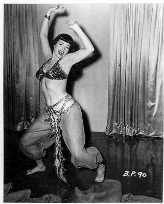 Bettie Page Dancing Pose in Lingerie Top with Pajama High Quality Photo