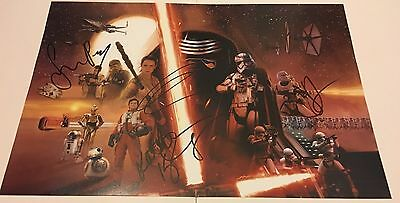 Star Wars The Force Awakens Signed Poster By 4 18X12 Photo Rare Aftal Coa (D)