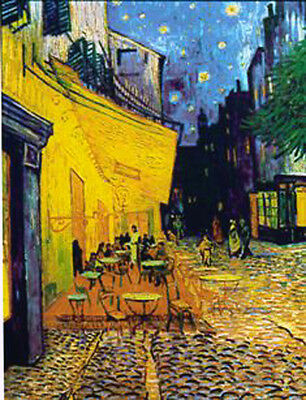 """New Glassmasters Van Gogh """"Cafe Terrace at Night"""" Stained Glass Panel New In Box"""