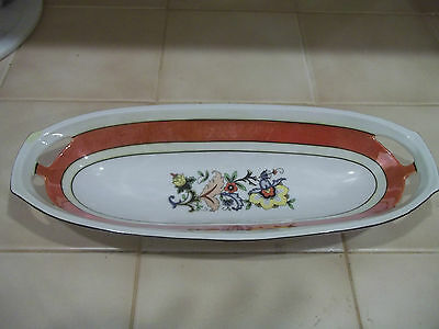 VINTAGE FLOWERED PORCELAIN CELERY DISH MARKED GERMANY Luster Pierced