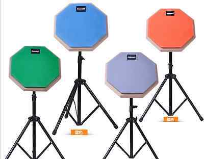 8'' Dumb Drum Practice Pads Stand Adjustable Drum Sticks Set Musical orange