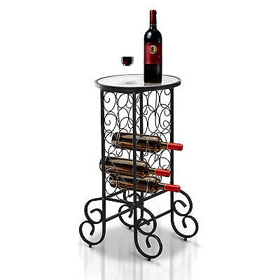 HOMCOM Wine Bottle Rack Holder Table Bar Storage Contemporary Solid Metal Stand