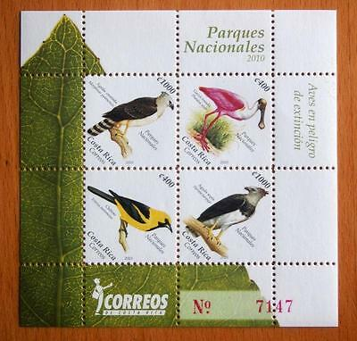 Costa Rica 2010 Endangered Birds/national Parks Stamp Sheetlet - 4 Stamps