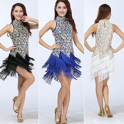 Latin Dance Dress Salsa Ballroom CompetitionTassel Sequin Dress Fancy Costume