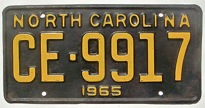 North Carolina 1965 Vintage License Plate Garage Old Car Auto Tag Man Cave CE