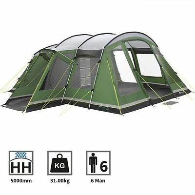 Outwell Montana 6 Man Person Camping Tunnel Tent in Green