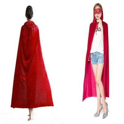Long Red Cloak Hooded Velvet Halloween Party Fancy Wicca Robe Cape Medieval Lady