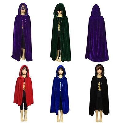 Children Hooded Long Velvet Cloak Halloween Fancy Cape Robe Costume Vampire Kids