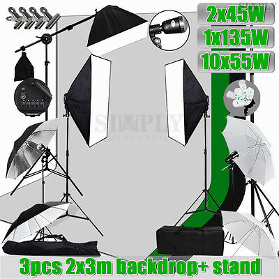 Photography Studio Softbox Flash Umbrella Lighting Light Stand Backdrop Kit Set