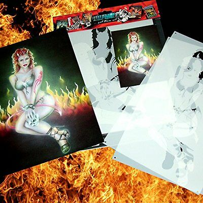 Schneidmeister Airbrush HOT DEVIL CHICK Stencil for Beginners and Pros, ca. A4,