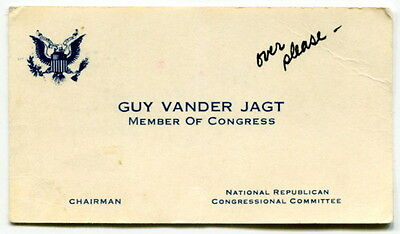 Original Michigan Congressman Business Card: GUY VANDER JAGT - Signed