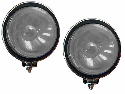 """2 X CLEAR Lens, 6"""" Chrome / Silver Twin Spot Lamps Lights  for Car, 4x4, Van"""