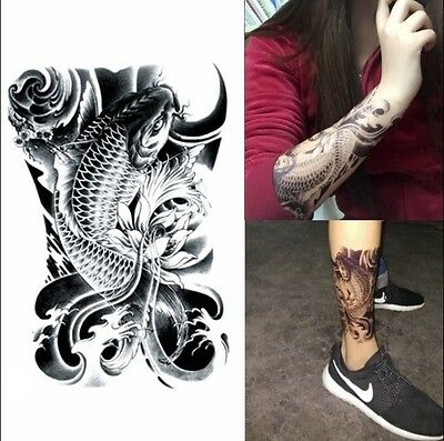 Waterproof Black Carp Graphic Temporary Tattoo Body Art Stickers Removable