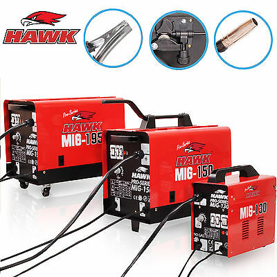Hawk 130 150 195 Gas No Gasless Flux Solid Wire Mig Weld Welder Welding Machine