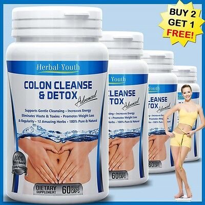 DETOX COLON CLEANSE CAPSULES 2000mg DAILY WEIGHT LOSS DIET HERBAL SLIMMING PILLS