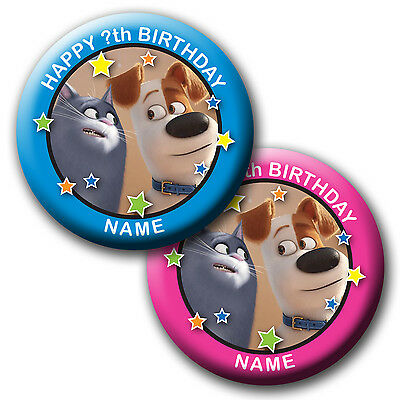 Personalised The Secret Life Of Pets Chloe Max Birthday Badges/magnet/mirror