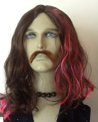 Brown Wavy/Curly Men's Fancy Dress Wig  With Pink Streaks & Droop Moustache
