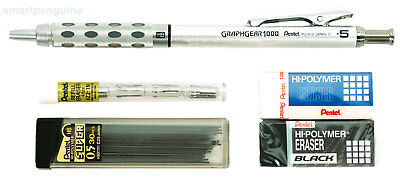Pentel GraphGear 1000 Mechanical Drafting Pencil 0.5mm With Erasers & 30 Leads