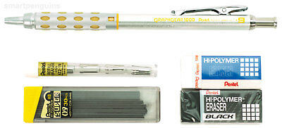 Pentel GraphGear 1000 Mechanical Drafting Pencil 0.9mm With Erasers & 30 Leads