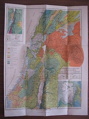 """1912 * RARE ANTIQUE  * OLD PALESTINE GEOLOGICAL MAP * 16"""" x 22"""" * GERMANY"""