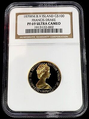 1979 Gold British Virgin Islands $100 Sir Francis Drake Voyage Ngc Proof 69 Uc