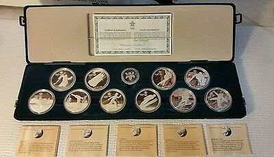 Canada Silver $20 Dollar each, 10 Coin Set,1988 Calgary Winter Olympics #101669